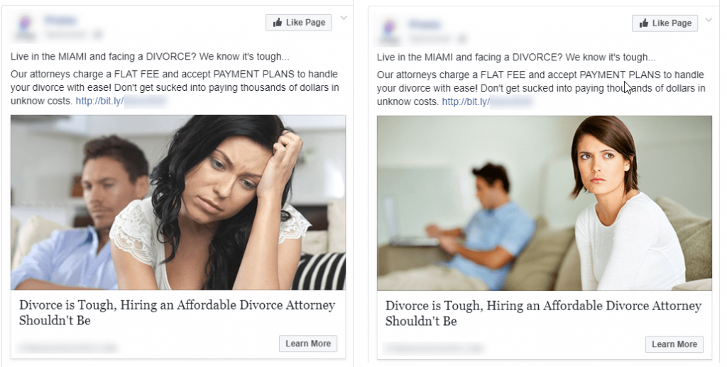 example of divorce ads on facebook
